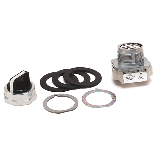 800T 3 Position, Knob/Wing Lever,, White, Std. Knob Spring Rtn fr/ Left, Cam and Contact Blocks, 3 Position