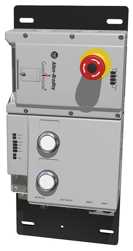 Lock Module, 442G Access Box, Power to Lock, Unique Code, EtherNet/IP (2 x M12, D-coded), Left-hand Guard, E-stop and Two Push Buttons