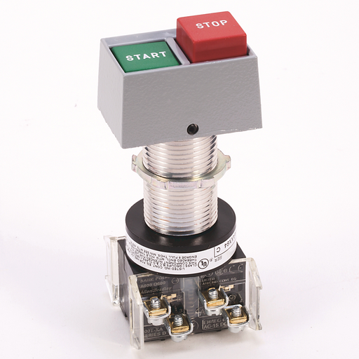 Hazardous Location Type 7&9 Dual Push Button, Standard Barrel Length, Horizontal, Left Black Flush / Right Black Flush, 1 N.O. - 1 N.C., OPEN, CLOSE