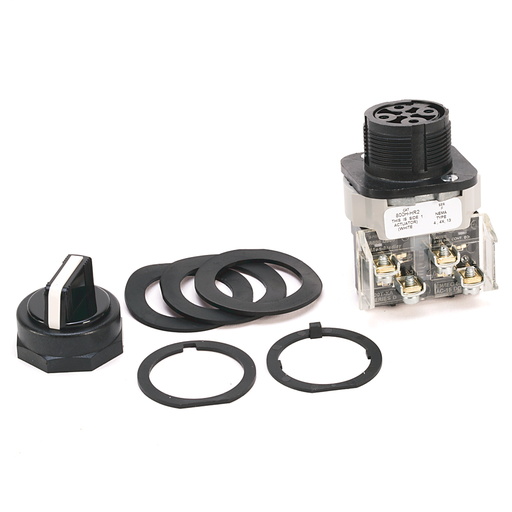 30.5mm Type 4/4X/13 2 Pos Sel. Switch-Non-Illum., White, Std. Knob Maint., 1 N.O. Sealed Switch