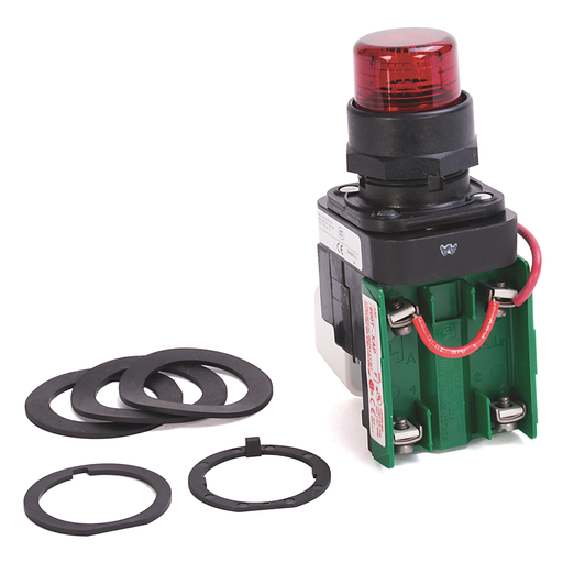 30.5mm Type 4/4X/13 Pilot Light, Xfmr, Push-to-Test, Incand., Red, 120V AC 50/60 Hz, 1 N.O. - 1 N.C. Sealed Switch