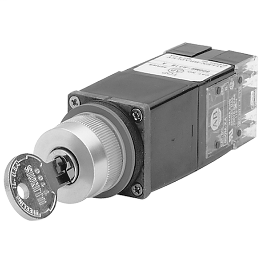 800MR 2-Position Selector Switch Units, Non-Illuminated, 2-Position Cylinder Lock,, Lock in LeftStandard T100 Key Code, B Cam, No Contacts