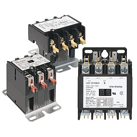 400 Definite Purpose Contactor, 40A, 208/240V 50/60Hz, 3 Poles, Open, 2-Poles with 3-Pole Base