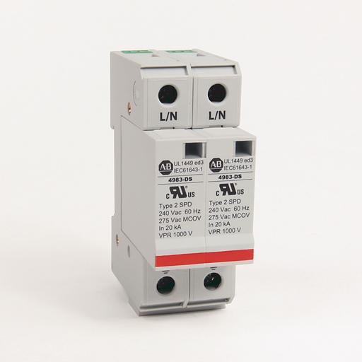 4983 Surge and Filter Protection, Din Rail Mount, UL 1449, 230-240V AC, 40kA, 2 Pole Configuration