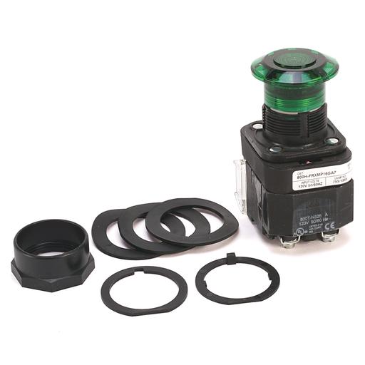 30.5mm Type 4/4X/13 3 Pos Push-Pull PB-Illum., OUT/CNTR/IN-Mom/Maint/Mom, Green, Mushrm Hd, Incand., 120V AC 50/60 Hz, 1 NCLB-1 NC