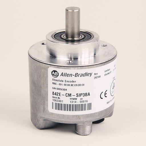 842E EtherNet/IP Multi-Turn Encoders, Single-turn (1 turn), Solid shaft 10 mm, M12 connector, 262,144 (18 bit) steps per revolution