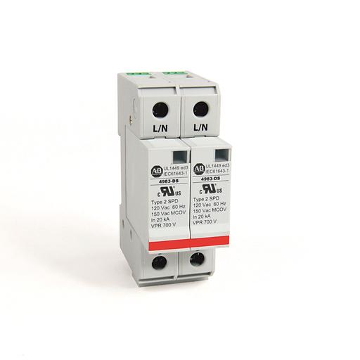 4983 Surge and Filter Protection, Din Rail Mount, UL 1449, 120V, 40kA, 2 Pole Configuration
