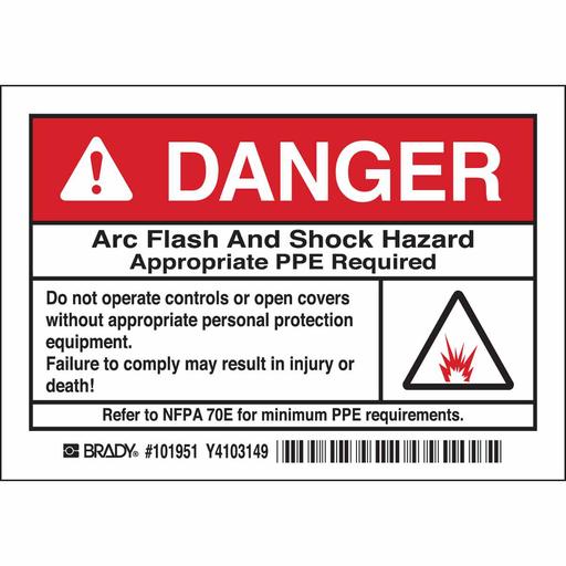 BRADY 101951 B302 3.5X5 BLK/RED/WHT WARNING LABELS