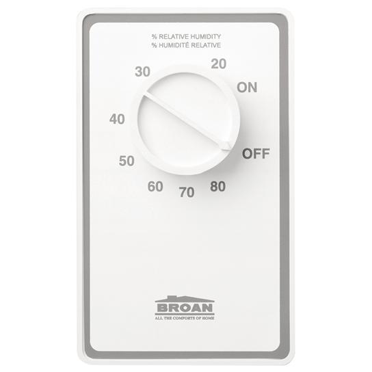 Broan DH100W 24 Amp 120 Volt White Ventilation Fan Dehumidistat