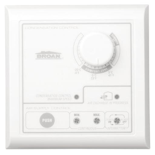 Central Control w/Dehumidistat, Intermittent-low-high push-button switch. Maintenance light. Low Voltage