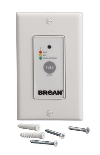 BRO VT4W WALL CONTROL. OFF-LOW-HIGH SPEED-INTERMITTENT 20 MIN/HOUR