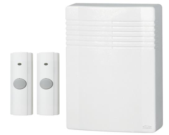 Broan LA542WH 4-1/4 x 5-7/8 x 1-3/4 Inch Wireless Door Chime Kit with 2 Push Buttons