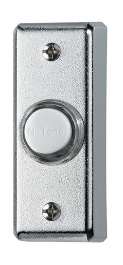 Lighted Rectangular Pushbutton, 1w x 2-3/4h in Polished Chrome