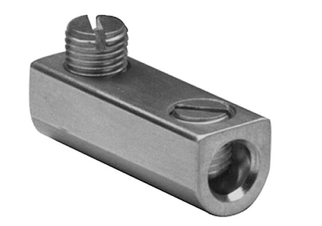 "BURNDY Aluminum Mechanical Splice, 1/0-14 AWG, 7/16"" Screw Dia, 2 Screws, Al/Cu Rated, Tin Plated."