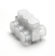 Aluminum Multiple Tap Connector, Clear Insulated, 3 Port, 2 Sided Entry, 10 AWG-350 kcmil, Al/Cu Rated.