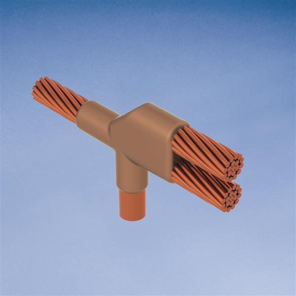 Erico NCR182Q 4/0 AWG to 3/4 Inch Horizontal Tee Cable to Ground Rod Mold