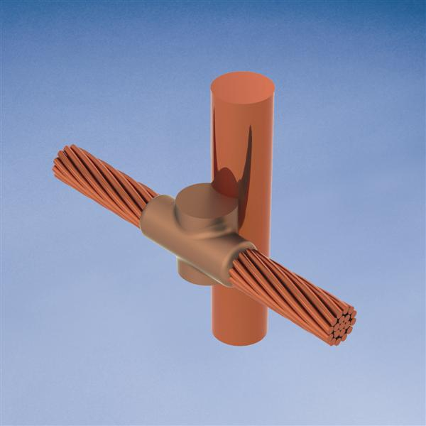 Erico GYE182Q 3/4 Inch Copper Clad Cable to Ground Rod Mold