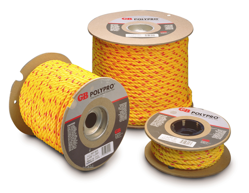 Strong, durable, lightweight polypropylene general purpose rope for manual wire pulling and general construction applications (barrier rope, tie downs, tow rope, etc.).