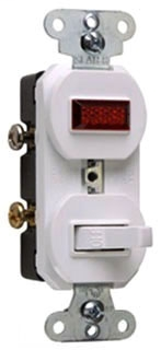 PAS 692-WG 1P 15A 125V SWITCH/PILOT LIGHT COMBO WHITE