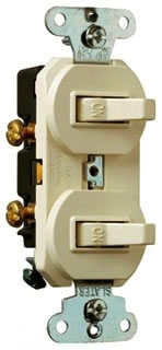 Legrand 690-WG Single Pole, Double Combination Switch, 15 AmLegrand, 120/277 Volts, w/ Ground, White