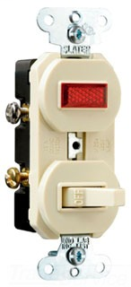 Legrand 692-I 15 amLegrand, 120 volts, Pole, Single Pilot Light, Combination Switch, Non-Grounding, Ivory.
