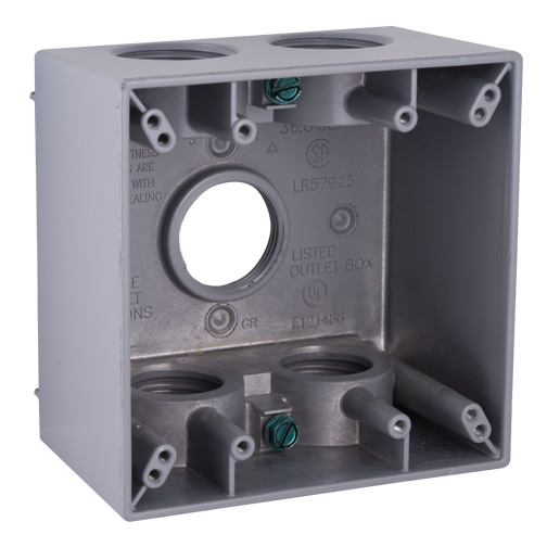 (Bell) 2G WP 2-5/8 Deep 5 Hubs 3/4 Inch Square Box With Lugs Weatherproof Gray Double.  sc 1 st  Frost Electric & Boxes Enclosures u0026 Fittings Weatherproof Boxes u0026 Covers Metallic ... Aboutintivar.Com
