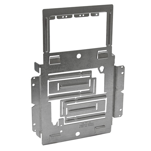 Single Box Mounting Bracket with Cable Support - For MC/BX Wiring Systems Positions a 4 in. Sq. Junction Box between Two Studs