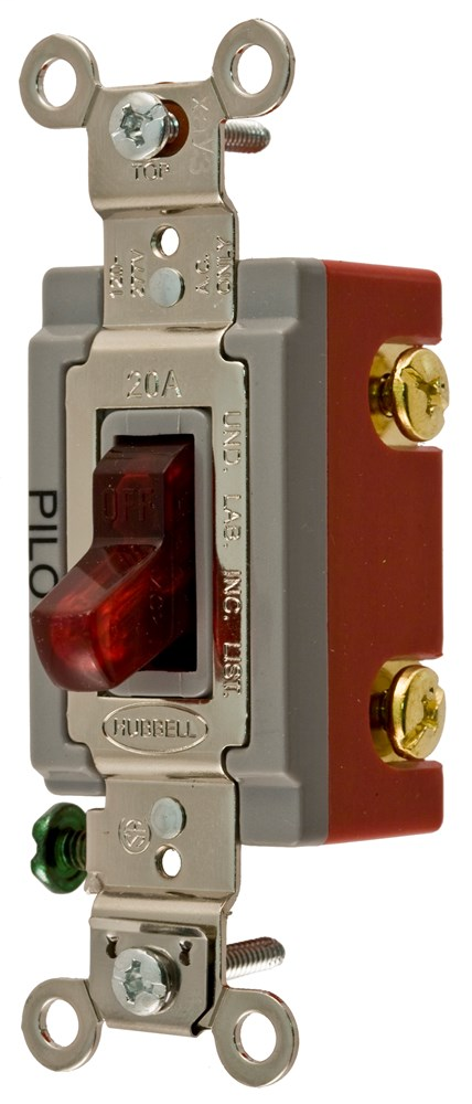hubbell hbl1222pl red 20a double pole pilot light switch 120 277v