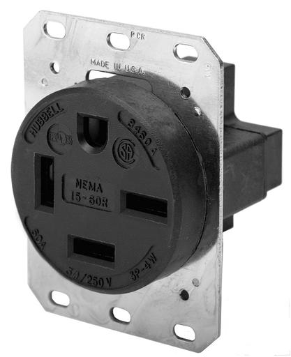 Mayer-4-Pole 4-Wire Non-Grounding, 60A 3PH 250V, 15-60R, Black RTP-1
