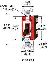 Hubbell CS1221GY 20 Amp 120/277 VAC 1-Pole Gray Toggle Switch