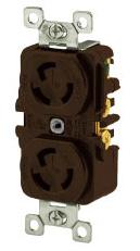 Hubbell L515DRI 15 Amp 125 Volt 2-Pole 3-Wire NEMA L5-15R Ivory Locking Duplex Receptacle