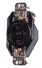 Hubbell Wiring Devices L1530R 30 Amp 3-Phase 250 VAC 3-Pole 4-Wire NEMA L15-30R Black Locking Receptacle