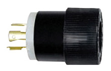 Hubbell Wiring Devices L1630P 30 Amp 480 VAC 3-Phase 3-Pole 4-Wire NEMA L16-30P Black and White Locking Plug