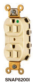 Hubbell Wiring Devices SNAP8300I SNAPConnect 125 Volt 20 Amp Ivory Hospital Grade Receptacle