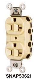 HUBW SNAP5262W SNAP CONNECTRECEPTACLE, 15A 125V, WH