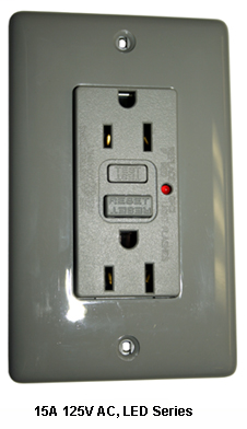 Mayer-15A 125V, 2P 3W, Flush Thermoplastic Face, Back & Side Wired, Matching Wall Plate Included, Ivory-1