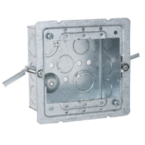 Raco 232-OW 4 Inch Square Box (OW) 2-1/8 Deep w/ 1/2 & 3/4 Knockouts & Old Work Brackets, Steel