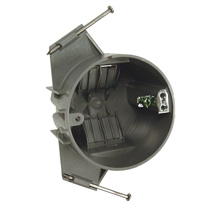 3-1/2 in. Round Ceiling Boxes - With Captive Nails for Nonmetallic Sheathed Cable 2-5/8 in. Deep, 18.0 Cu. in., 1/2 in. Setback, Nails, Ground Plate