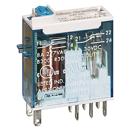 AB 700-HK36A1-3-4 700-HK General Purpose Slim Line Relay, 16 Amp Contact, SPDT, 120V 50/60Hz, Push-To-Test & Manual Override function and Pi