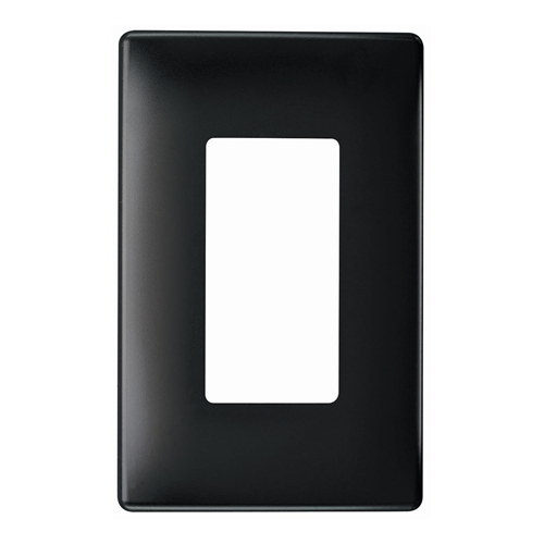Pass & Seymour SWP26BK Plastic Sub-Plate Black 2-Gang Screwless Decorator Opening Wall Plate