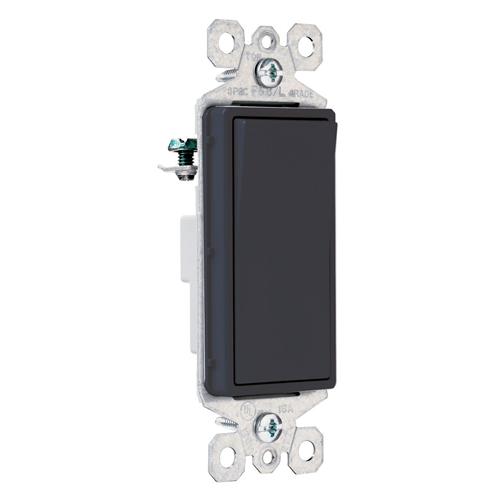 Pass & Seymour TM870-BK 15 Amp 120/277 VAC 1-Pole Black Thermoplastic Screw Mounting Grounding Rocker Decorator Switch