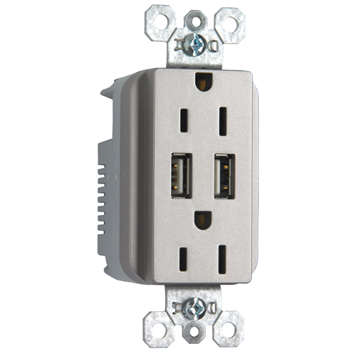 PS TM-826USBNICC6 DecoratorCombination 15A 125V Duplex Outletwith Two USB Chargers - NickelFinish
