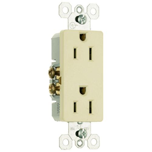 Pass & Seymour 885-I 15 Amp 125 VAC 2-Pole 3-Wire NEMA 5-15R Ivory Thermoplastic Duplex Decorator Receptacle