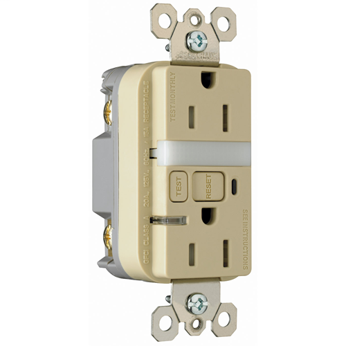 Pass & Seymour 1595-NTLTRICC4 15 Amp 125 VAC 2-Pole 3-Wire NEMA 5-15R Ivory Thermoplastic Night Light/GFCI Receptacle