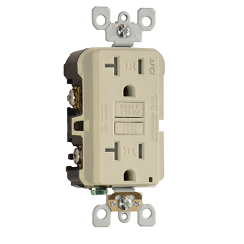 Mayer-Specification Grade Tamper-Resistant Outlet Branch Circuit AFCI Receptacle, Ivory-1