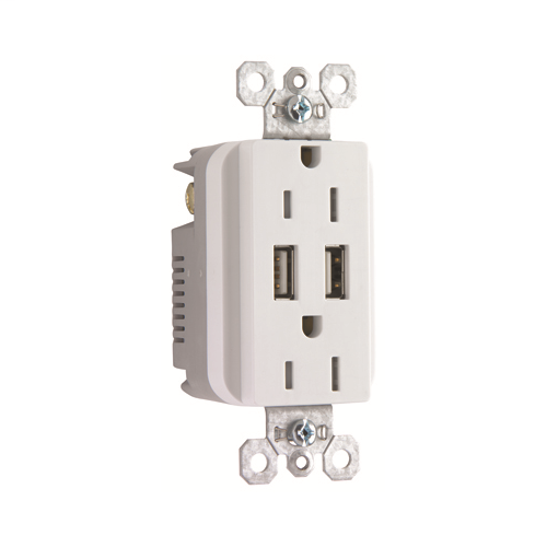 Legrand TM-826USBWCC6 Decorator Combination 15A 125V Duplex Outlet With Two Usb Chargers, White **USE TM826USBW WHEN THIS IS GONE** *TM-826USBWCCV6