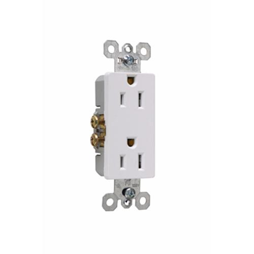 Pass & Seymour 885-SW 15 Amp 125 VAC 2-Pole 3-Wire NEMA 5-15R White Thermoplastic Duplex Decorator Receptacle