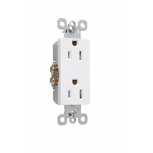 Pass & Seymour 885-W 125 VAC 2-Pole 3-Wire NEMA 5-15R White Thermoplastic Duplex Decorator Receptacle