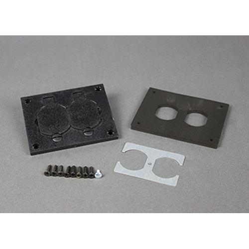 "Wiremold 828PR-BLK 3-3/16 x 4-1/8"" Black Polycarbonate Floor Box Duplex Cover Plate"
