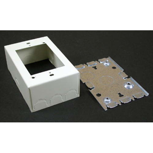 Wiremold V5745 4-5/8 x 2-7/8 x 1-3/4 Inch Ivory Steel 1-Channel Raceway Combination Switch and Receptacle Box